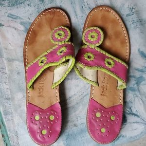 Jack Rogers Pink and Green Colorful Sandals
